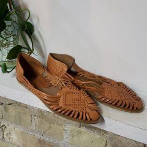 Vintage 90s Y2K Woven Leather Haurache Sandal